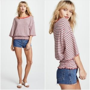 Free People Ebony Striped Top Ribbed Tee Red Blue